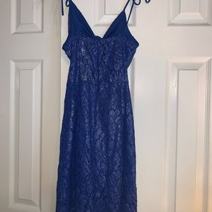 Lucy in the Sky Dresses - Royal Blue Lace Shimmer Tie Dress